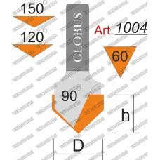 Фреза ГЛОБУС 1004 пазовая V-образная O90 D25 h25 d8