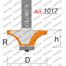 Фреза ГЛОБУС 1017 кромочная калевочная R12 D37 h17 d8