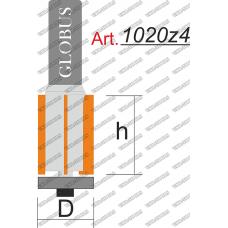 Фреза ГЛОБУС 1020z4 кромочная прямая с нижним подшипником z4 D14 h30 d8