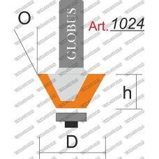 Фреза ГЛОБУС 1024 кромочная конусная с нижним подшипником O30 D38 h23 d8