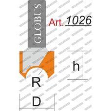 Фреза ГЛОБУС 1026 пазовая для изготовления розеток R8 D24 h20 d8