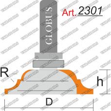 Фреза ГЛОБУС 2301 кромочная калевочная с верхним подшипником R6 D55 h16 d12