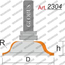Фреза ГЛОБУС 2304 кромочная калевочная с верхним подшипником R6 D43 h16 d8