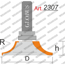 Фреза ГЛОБУС 2307 кромочная калевочная с верхним подшипником R16 D68 h20 d12