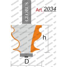 Фреза ГЛОБУС 2034 кромочная фигурная с нижним подшипником D18 h25 d8