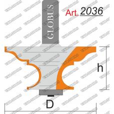 Фреза ГЛОБУС 2036 кромочная фигурная с нижним подшипником D38 h20 d8