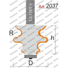 Фреза ГЛОБУС 2037 кромочная фигурная с нижним подшипником R1.5 D25 h25 d8