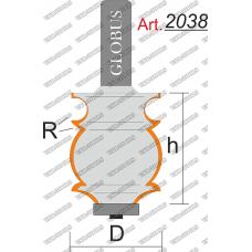 Фреза ГЛОБУС 2038 кромочная фигурная с нижним подшипником R5 D30 h40 d12