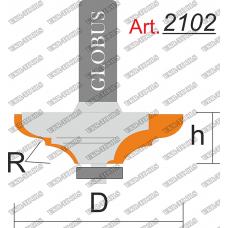 Фреза ГЛОБУС 2102 кромочная калевочная R6 D38 h10 d8