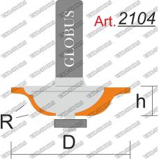 Фреза ГЛОБУС 2104 кромочная калевочная R6 D38 h10 d8