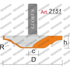 Фреза ГЛОБУС 2151 пазовая фасонная R4 D28 h8 d8