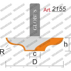 Фреза ГЛОБУС 2155 пазовая фасонная R3 D22 h6 d8