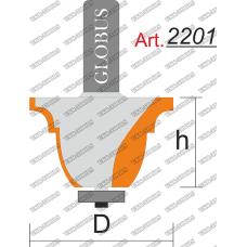 Фреза ГЛОБУС 2201 кромочная фигурная с нижним подшипником D30 h25 d8
