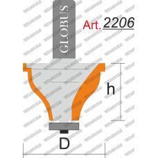 Фреза ГЛОБУС 2206 кромочная фигурная с нижним подшипником D30 h25 d8