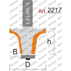 Фреза ГЛОБУС 2217 кромочная фигурная с нижним подшипником B12 R8 D37 h22 d8