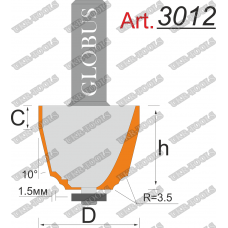 Фреза ГЛОБУС 3012 кромочная калёвочная D43 d12 h50
