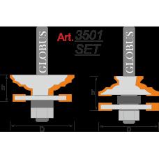 Фреза ГЛОБУС 3501 Set комбинированная рамочная D46 d8 L24
