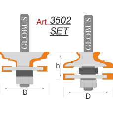 Фреза ГЛОБУС 3502 Set комбинированная рамочная D46 d8 h24
