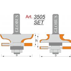 Фреза ГЛОБУС 3505 Set комбинированная рамочная D46 d8 h24