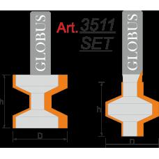 Фреза ГЛОБУС 3511 Set пазо-шиповая D32 d12 h32