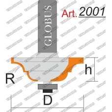 Фреза ГЛОБУС 2001 кромочная калевочная R6 D38 h16 d8