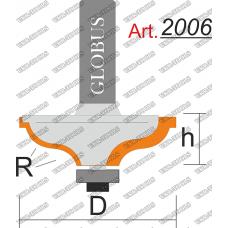 Фреза ГЛОБУС 2006 кромочная калевочная с нижним подшипником R4 D33 h12 d8