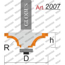 Фреза ГЛОБУС 2007 кромочная калевочная R8 D38 h16 d8