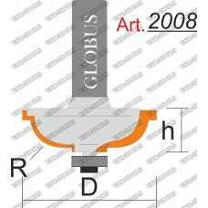 Фреза ГЛОБУС 2008 кромочная фигурная с нижним подшипником R8 D33 h14 d8