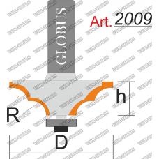 Фреза ГЛОБУС 2009 кромочная фигурная с нижним подшипником R8 D45 h18 d8