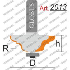 Фреза ГЛОБУС 2013 кромочная калевочная с нижним подшипником R4 D38 h16 d8