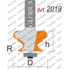 Фреза ГЛОБУС 2019 кромочная фигурная полустержневая R6 D40 h30 d8