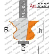 Фреза ГЛОБУС 2020 кромочная фигурная с нижним подшипником R3/6 D30 h25 d8
