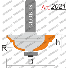 Фреза ГЛОБУС 2021 кромочная калевочная с нижним подшипником R3/8 D40 h15 d8