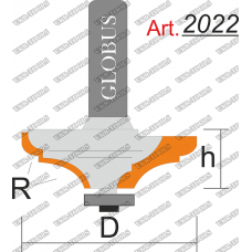 Фреза ГЛОБУС 2022 кромочная фигурная с нижним подшипником R4/10 D43 h18 d8