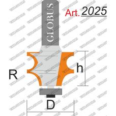 Фреза ГЛОБУС 2025 кромочная фигурная с нижним подшипником R4/6 D25 h20 d8