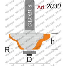 Фреза ГЛОБУС 2030 кромочная калевочная с нижним подшипником R3 D30 h12 d8