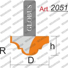 Фреза ГЛОБУС 2051 пазовая фасонная R3 D16 h10 d8