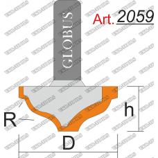 Фреза ГЛОБУС 2059 пазовая фасонная R4 D24 h15 d8